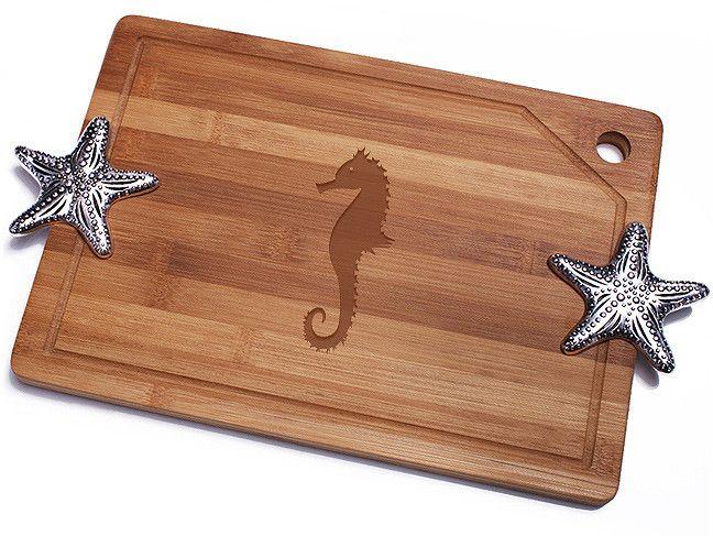 Sea Horse Bamboo Cutting Board