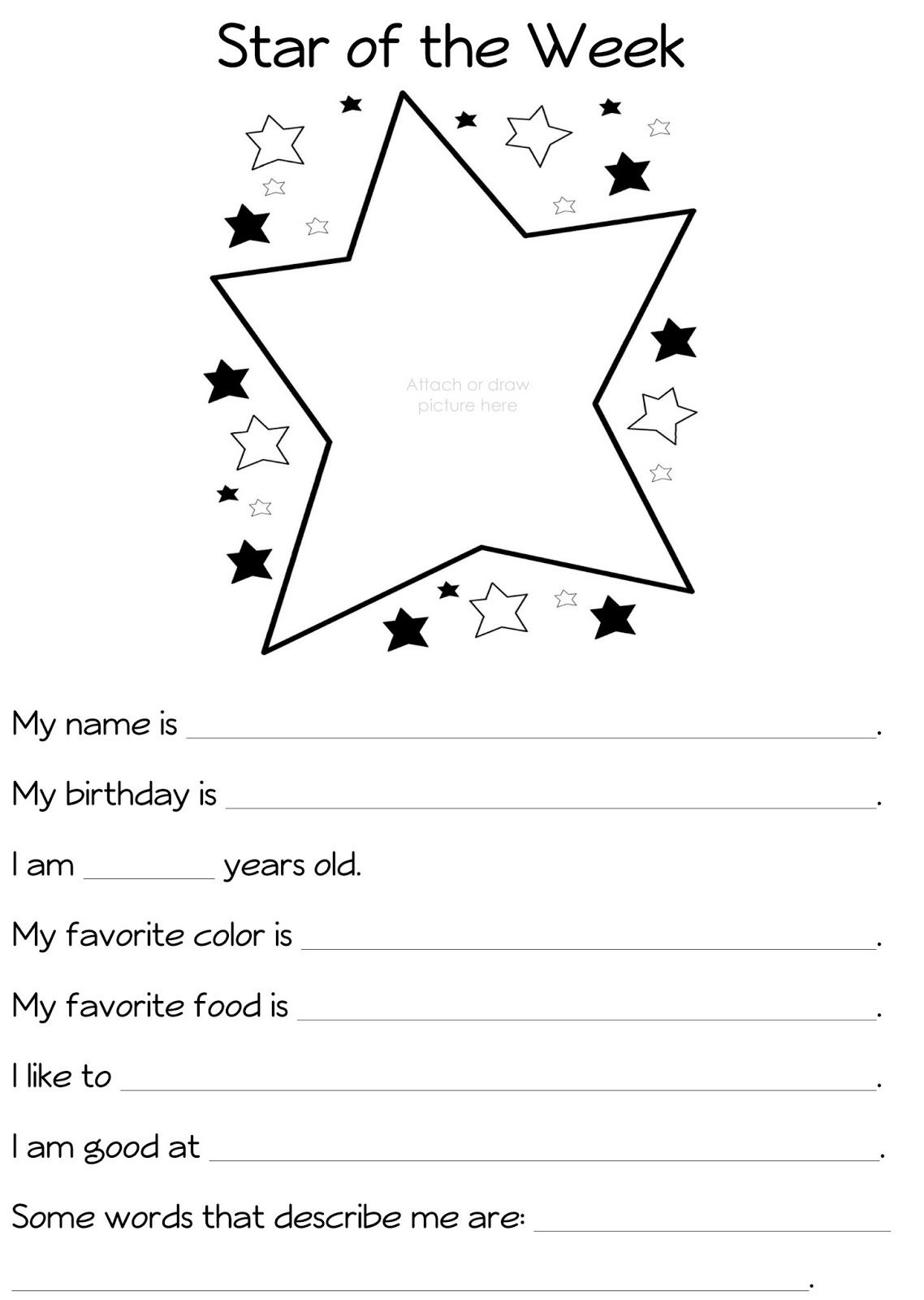 Star Of The Week Packet Star Of The Week First Grade Freebies Student Of The Week