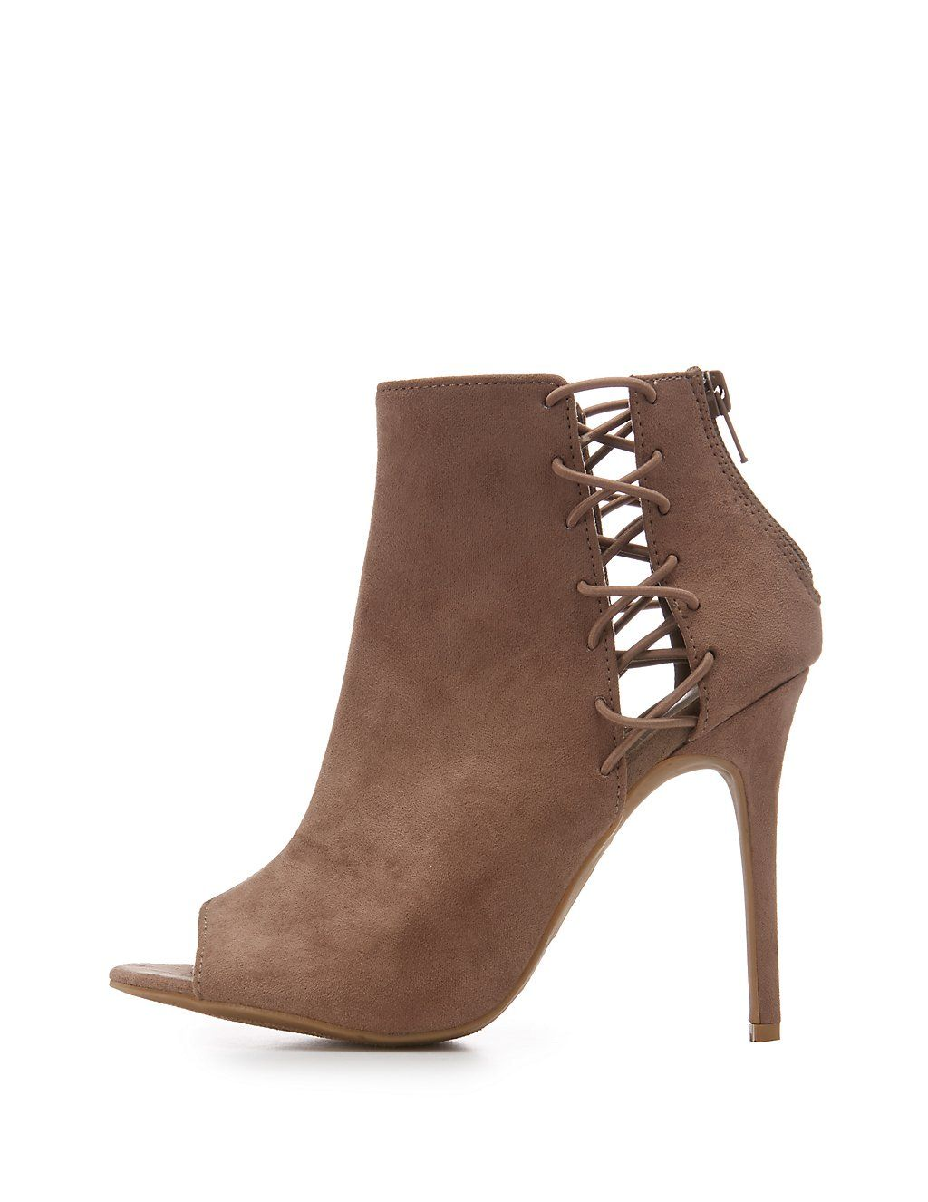 5c2c88596a020 Faux Suede Caged Peep Toe Booties