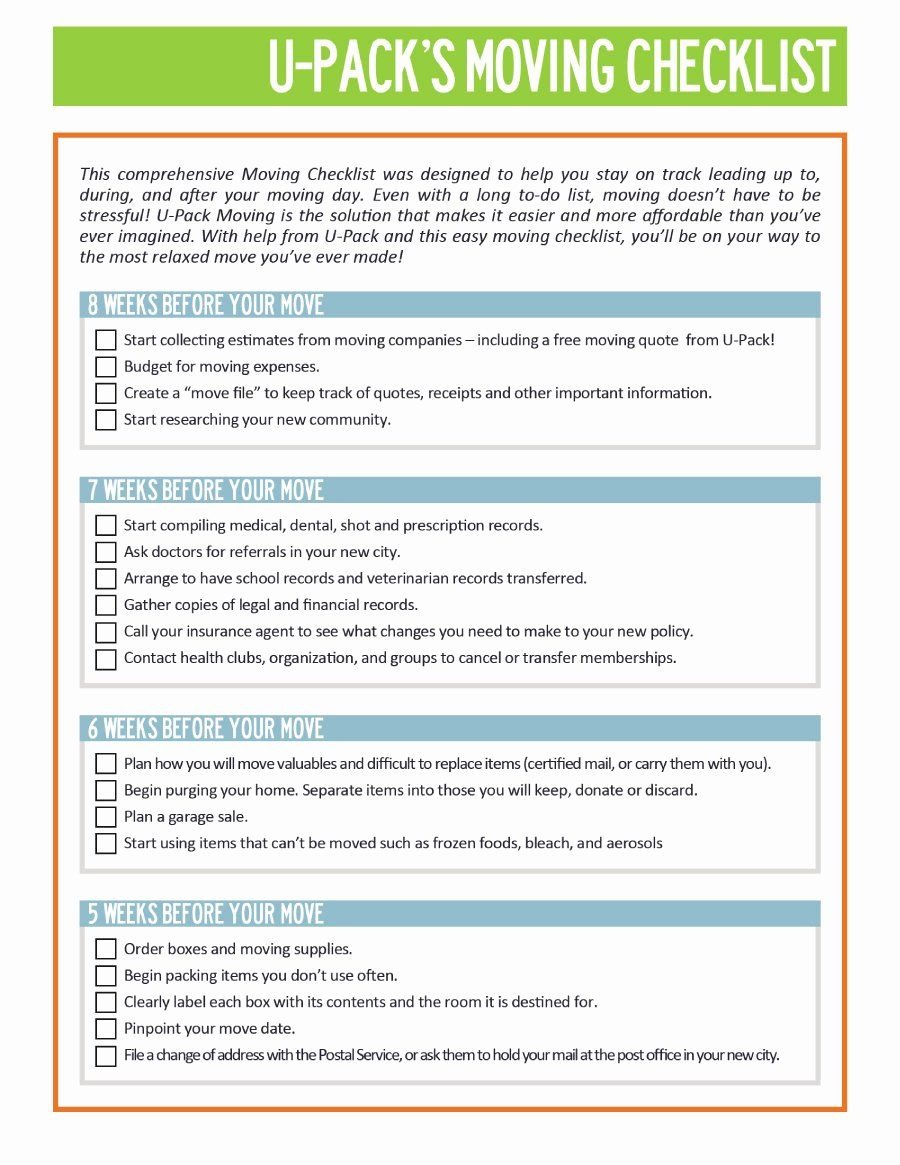 Moving Office Checklist Template Fresh 45 Great Moving Checklists Checklist For Moving In Out Moving Checklist Moving House Checklist Moving House Card