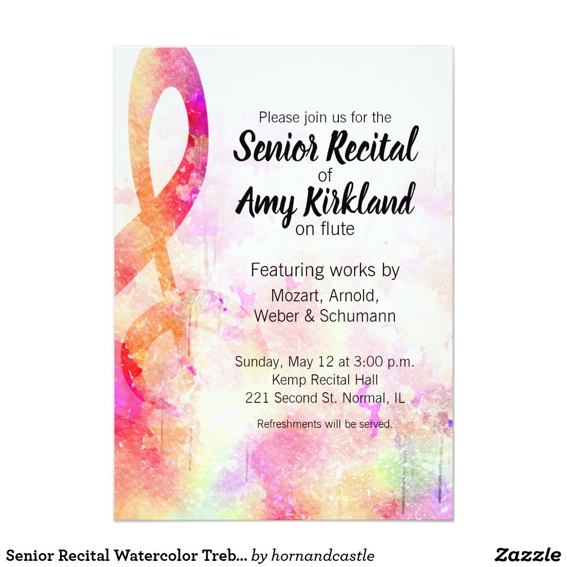 Senior Recital Watercolor Treble Clef Invitation Zazzle Com Recital Invitations Treble Clef
