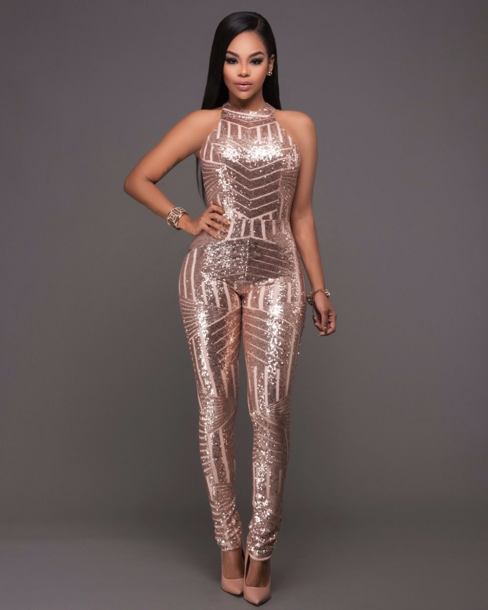 747b69d9c1 Ladies sequin long bodycon Jumpsuits Sexy glitter Romper backless Pencil  Overalls For women Fitness Bodysuit Combinaison c36