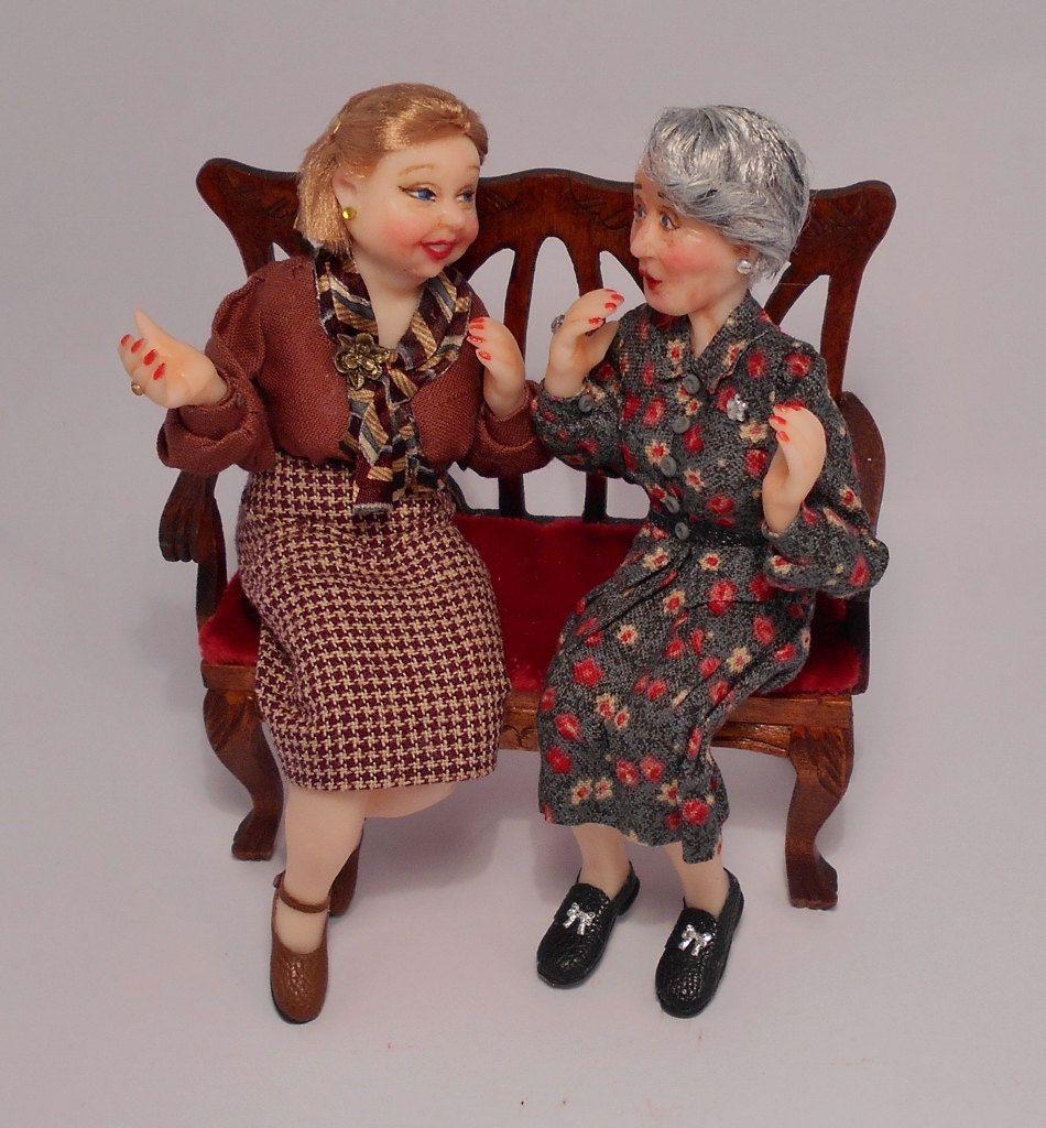 New gossip ladies OOAK 1/12 dollhouse dolls by by AligraDolls
