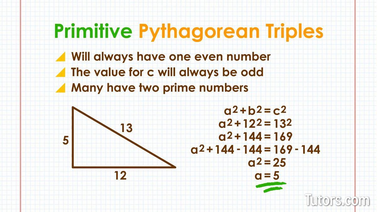 Fresh Ideas - Primitive Pythagorean Triples Pythagorean triple, Math
