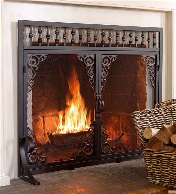 Main Image For Small Vintage Fireplace Screen With Doors 38 26quot W X 31 H