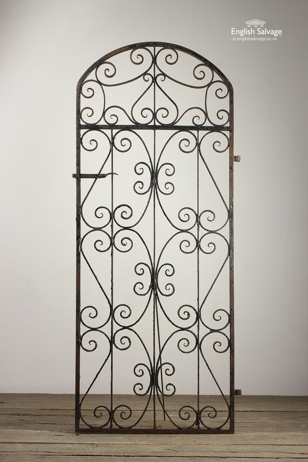 Salvaged Arch Top Scroll Design Garden Gate