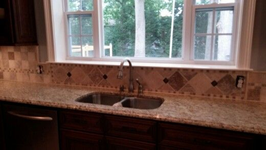 Travertine Backsplash Under Window  For The Home  Pinterest Extraordinary Kitchen Sink Backsplash Inspiration
