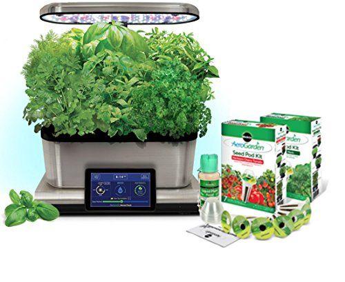 Aerogarden Harvest Touch 6 Led Stainless Steel With Gourmet Herb Kit Gourmet Herbs Aerogarden Low Water Gardening
