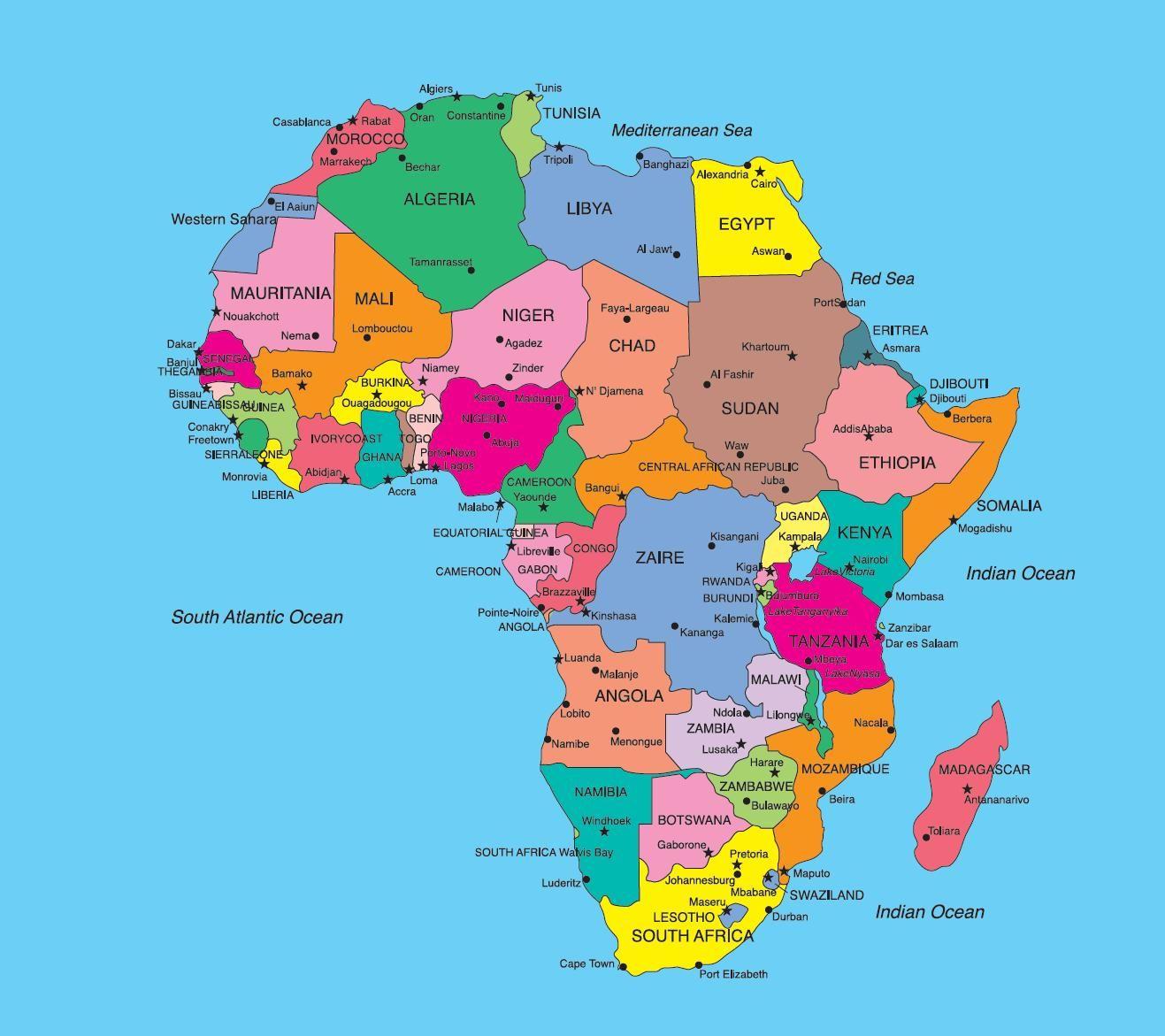 Cartina Africa Con Stati E Capitali.Risultati Immagini Per Mappa Degli Stati Africani Con