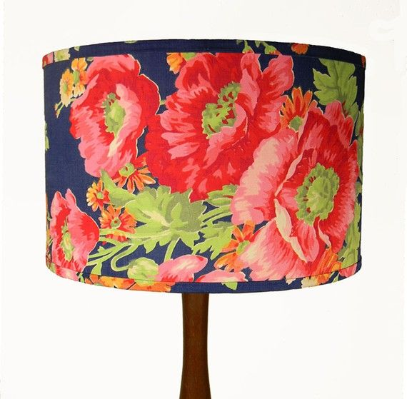 Floral lamp lampshade belysning pinterest flower lampshade russian floral lampshade poppies on bright blue 12 x 10 mozeypictures Gallery