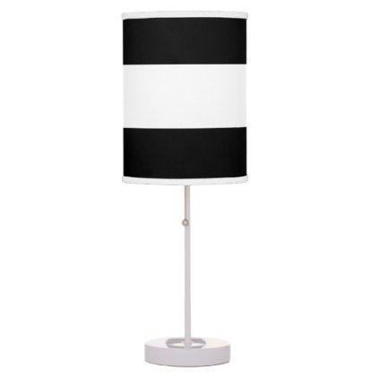 Black White Stripes Table Lamp Zazzle Com Black Lamps Lamp