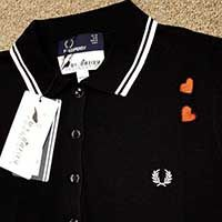 Amy Winehouse Girls Black Polo Shirt With Hearts by Fred Perry