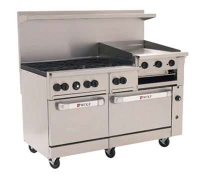 Wolf C60ss 6b24gb 60 6 Burner Gas Range W Griddle 2 Standard Ovens Natural Gas Gas Range Gas Oven