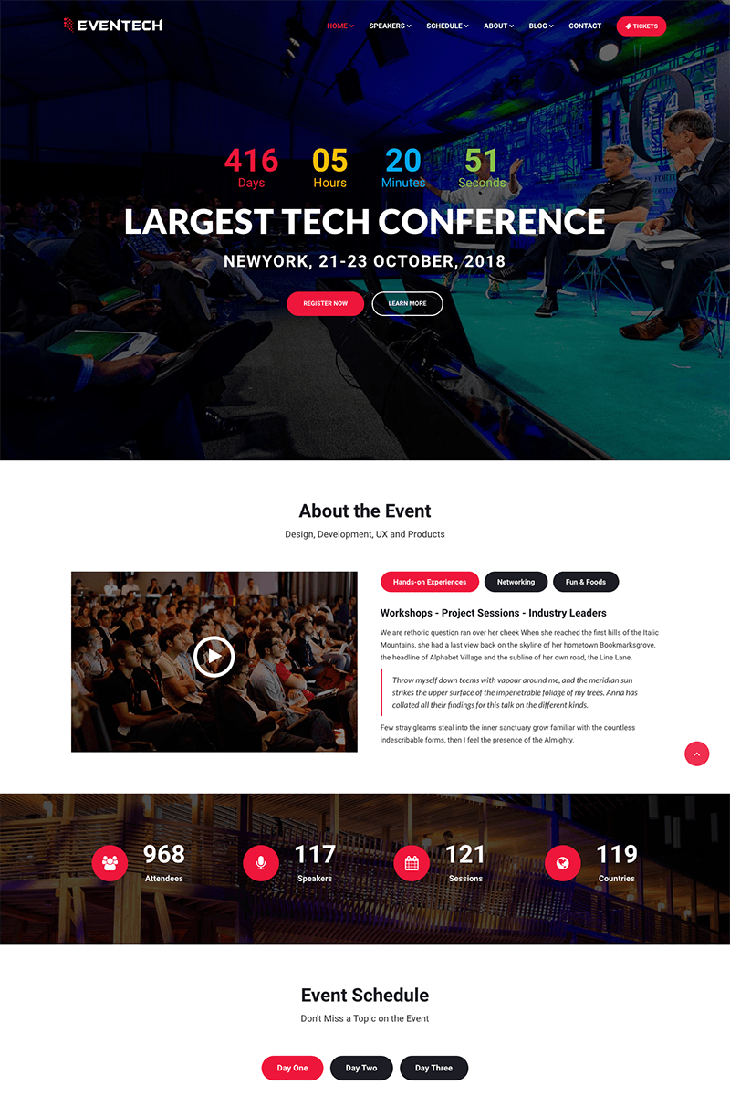 Eventech Conference Event Website Template Event Website Event Planner Website Conference Design