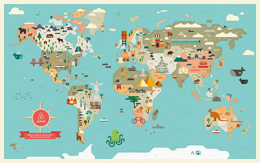 Andrea nguyen is an amazing illustratordesigner designers an illustrated world map printed for an airbnb in collaboration with agnes lee gumiabroncs Gallery