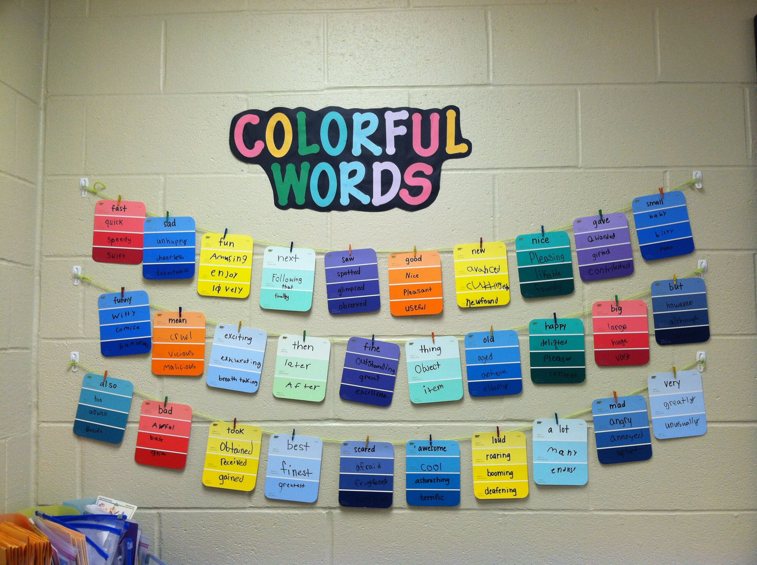 Colorful Words Synonym Word Wall