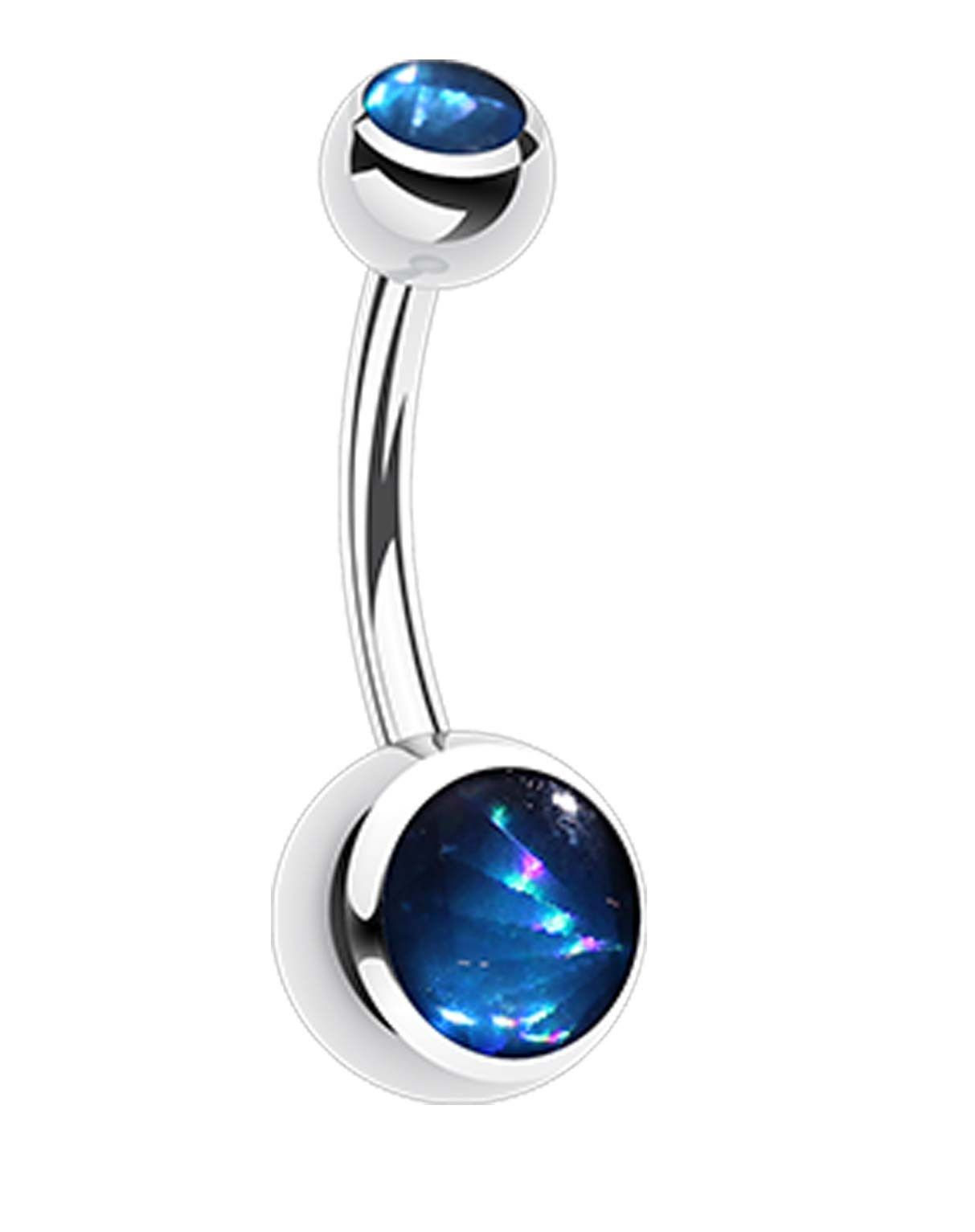 Piercing on belly  Hologram Sparkle L Surgical Steel Belly Button Ring  Belly