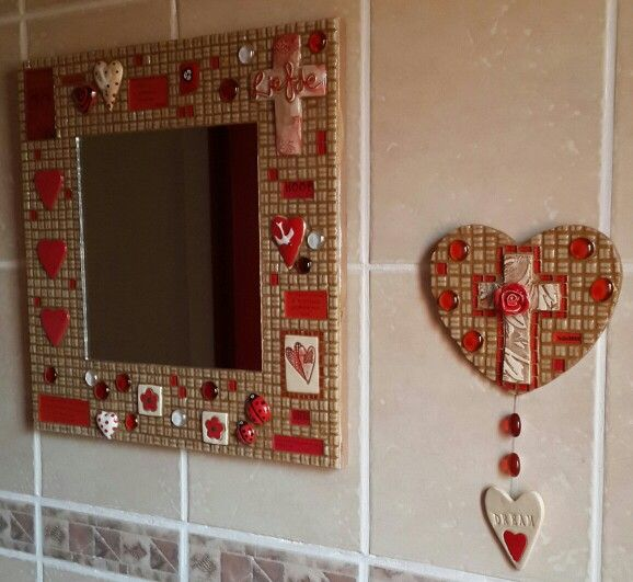 First mosaic piece. Red and cream mosaic mirror.