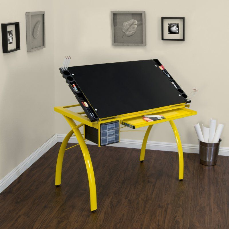 Studio Designs Futura Drafting Table with Glass Top Yellow ...