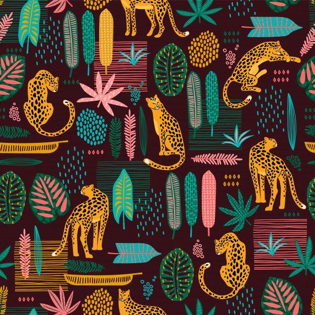 Patrón Sin Costuras De Vestuario Con Leopardos (con