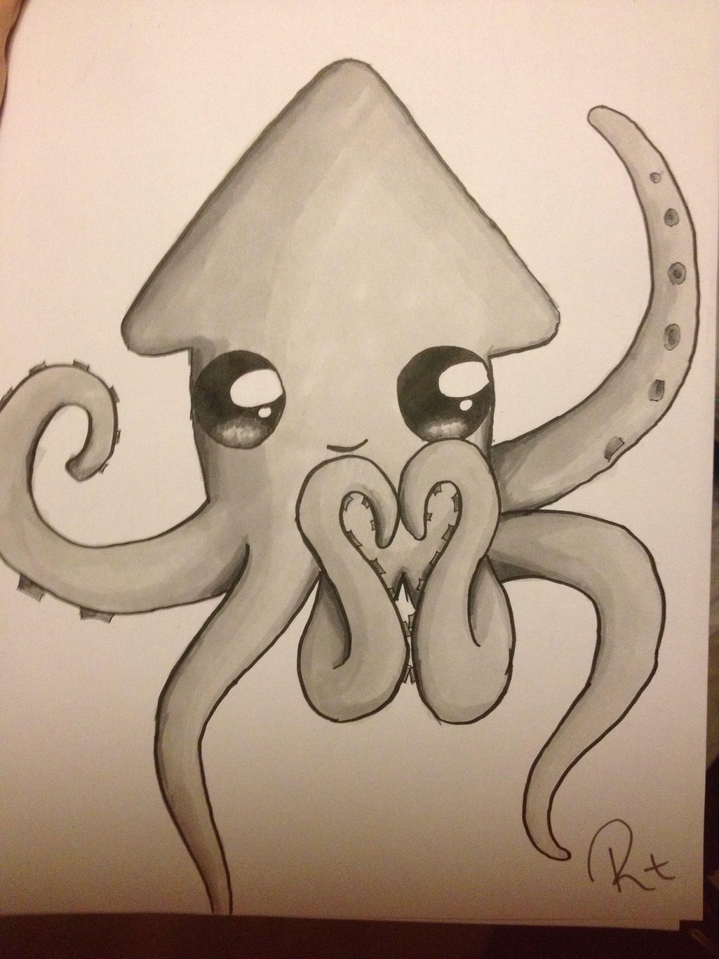 Uncategorized Squid Drawings this reminds me of my friend sydney and we call her squid luv ya easy drawings