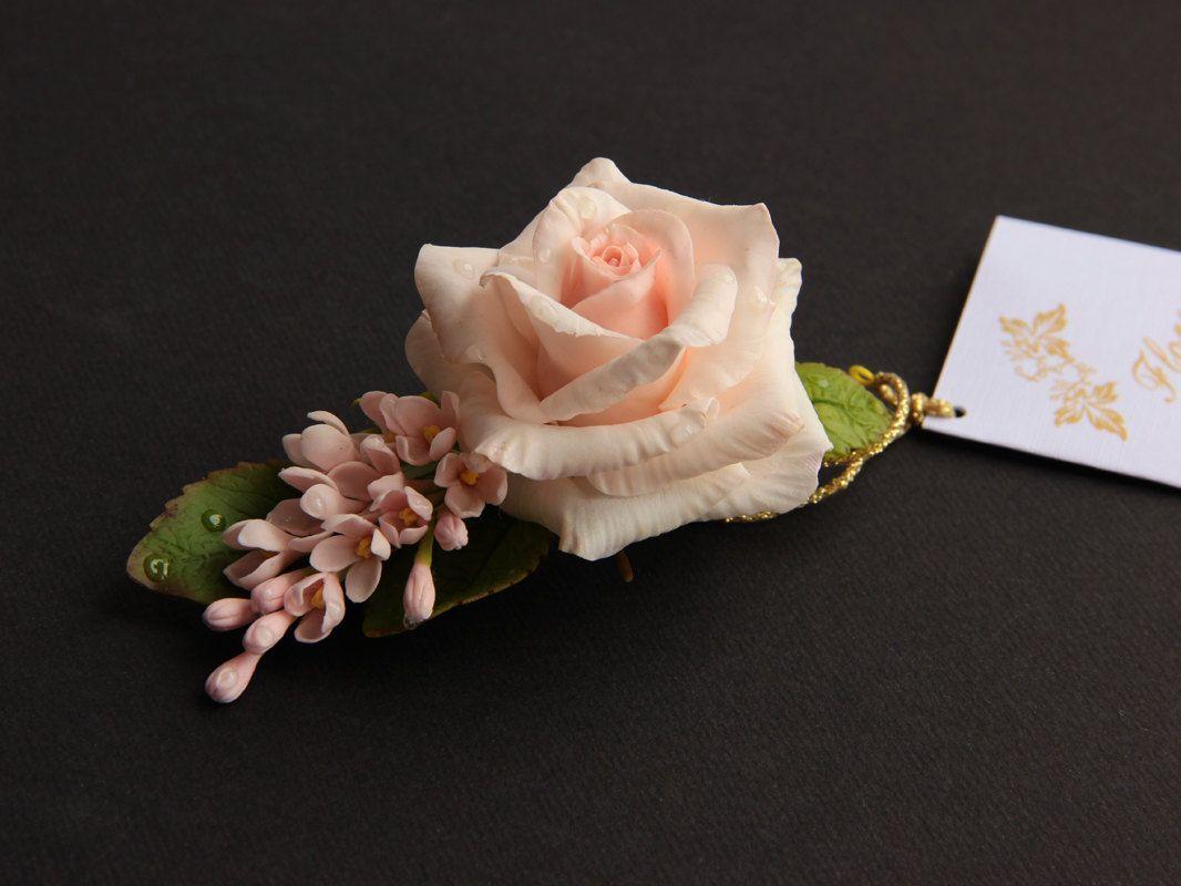 Pink Rose Barrette Rose Brooch Polymer Clay Flowers Roses Hair