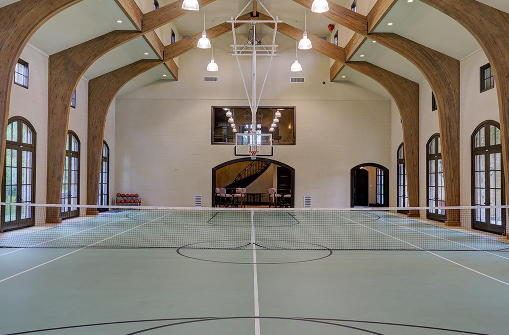 5 95 Million 18 000 Square Foot Estate In Fresno Tx Indoor Sports Court Indoor Basketball Court Home Basketball Court