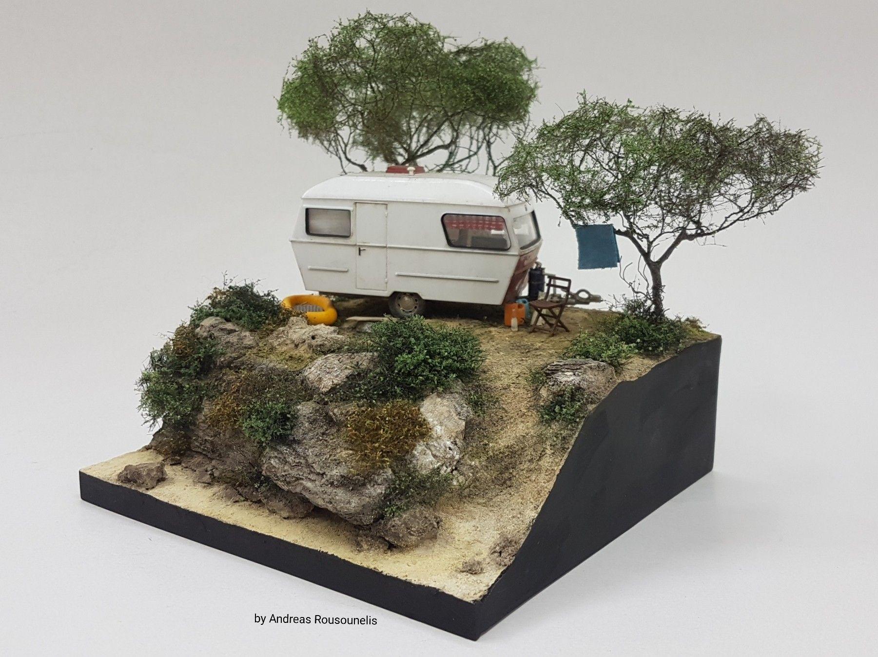 Camping Diorama 1 43 Scale Isometric Art Diorama Camper Art