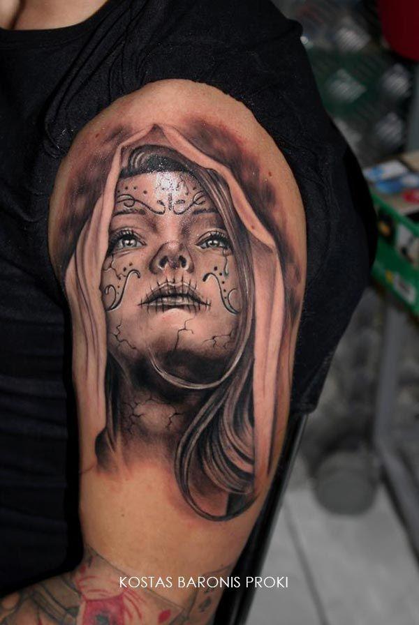 la santa muerte tattoo buscar con google tattoos la santa muerte pinterest tatoo tattoo. Black Bedroom Furniture Sets. Home Design Ideas