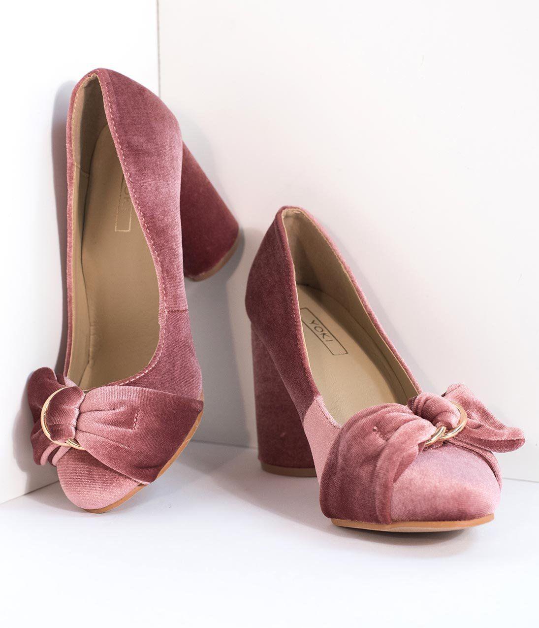 83b891d91bd Blush Pink Velvet Buckle Bow Closed Toe Heels – Unique Vintage ...
