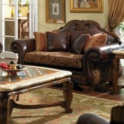 Aico Furniture Toscano High Back Leather And Fabric Loveseat In Brick 34925 Brick 26 Aico Furniture Wood Furniture Living Room Furniture