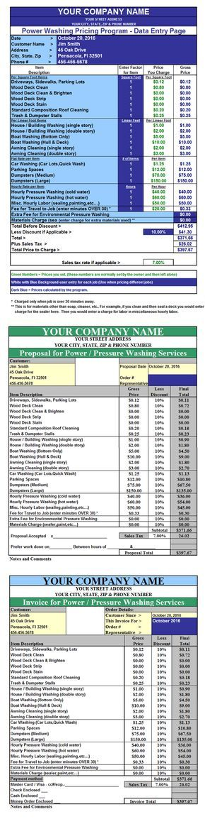 pressure washing invoicing quoting pricing program spreadsheet Learn - sample spreadsheet