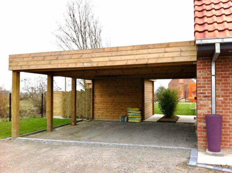 carport 700 X 610 + abri en 2020 Toit plat, Garage bois