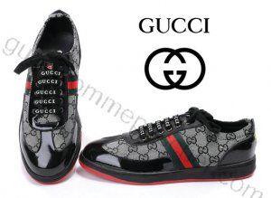 Chaussures Gucci Homme Pas Cher En Brillant Noir gris   Bottes Gucci ... ef429638871
