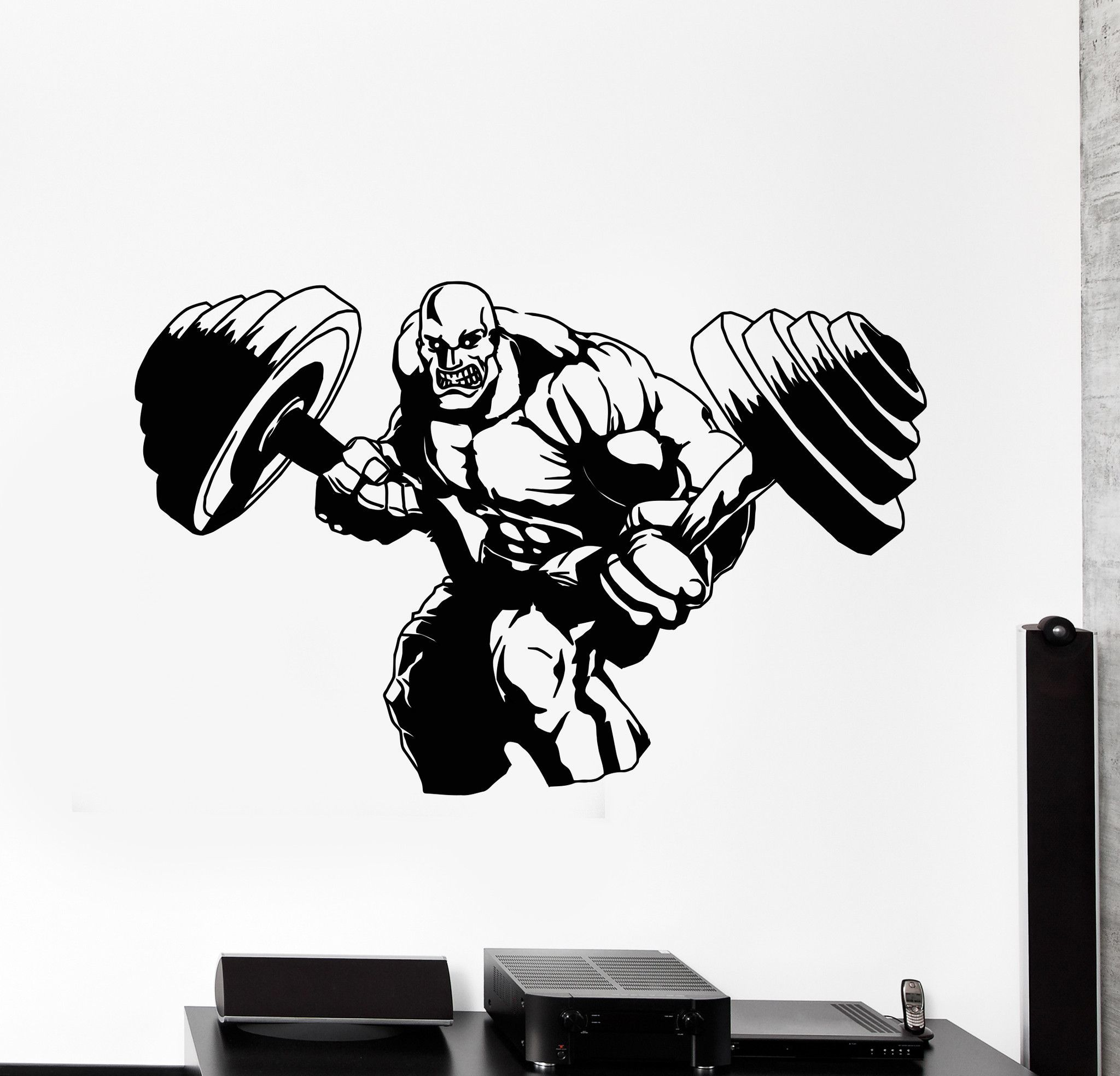 Sticker gym wall - Vinyl Wall Decal Bodybuilding Iron Sport Barbell Gym Muscle Stickers 616ig
