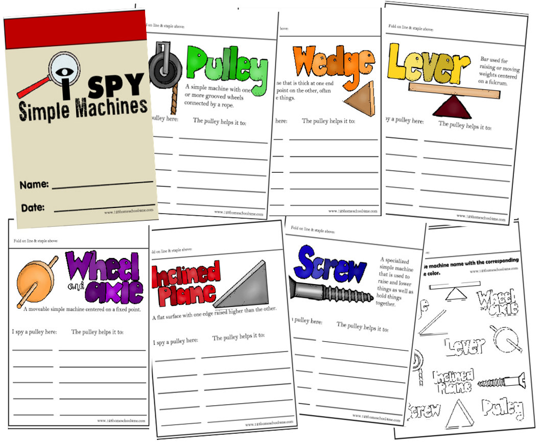 I Spy Simple Machines Printable