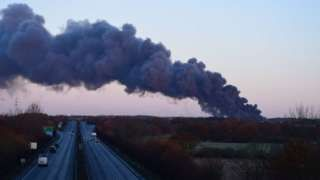 Prescot fire: Plumes of smoke after blaze at waste transfer site
