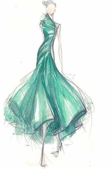 Fashion Sketch - jade green dress drawing; fashion illustration // Jesus del Pozo