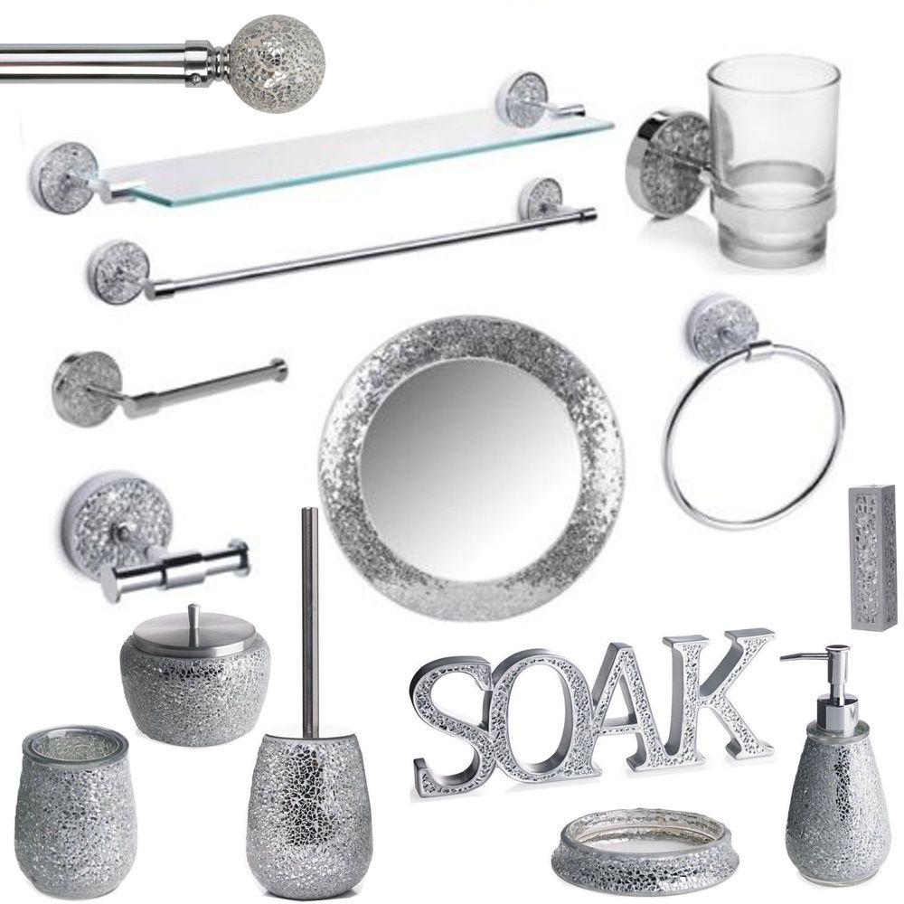 Mosaic Bathroom Accessories Set Silver