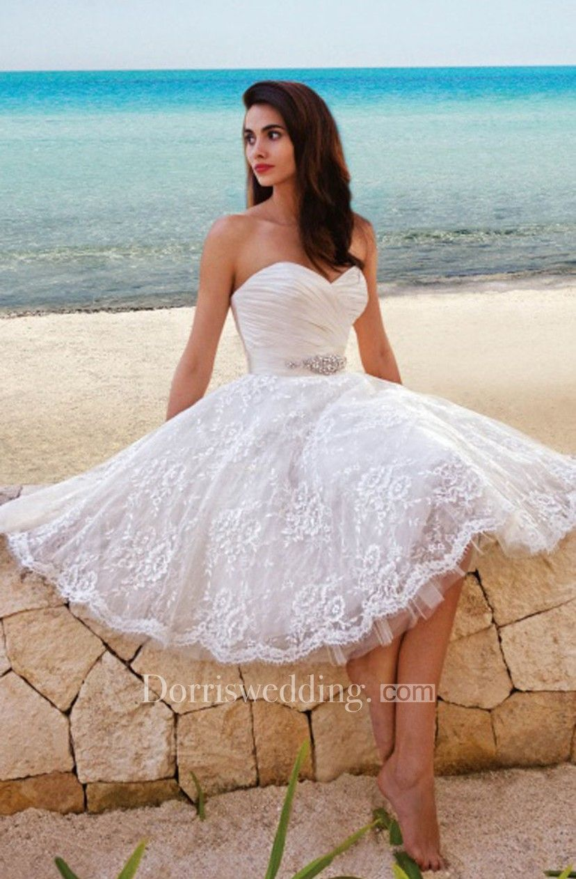 Princess style sweety midi wedding dress with sash clothes