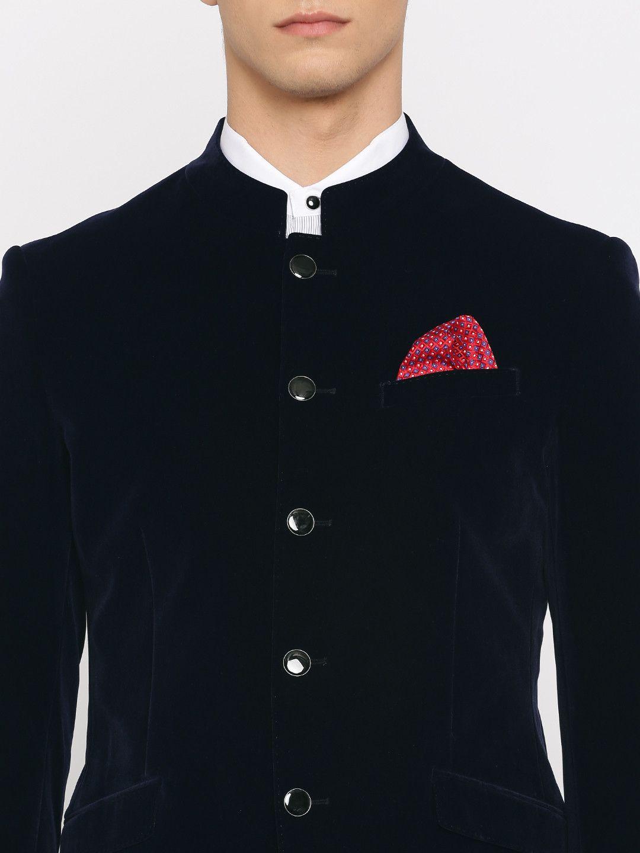 494b5db56f05 Buy INVICTUS Navy Velvet Slim Fit Single Breasted Formal Blazer - Blazers  for Men | Myntra