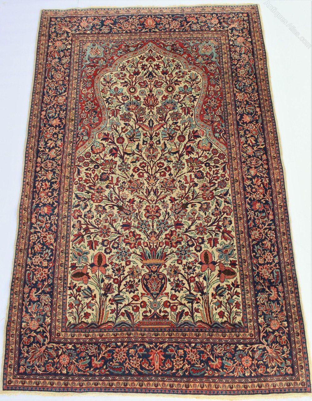 Antique Kashan Prayer Rug Tree Of Life Antique Persian Carpet Prayer Rug Antiques
