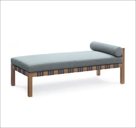 Calvin Kline Klini Chaise Solid Wood Frame With Woven Leather Straps  Upholstered Bench Seat With Round