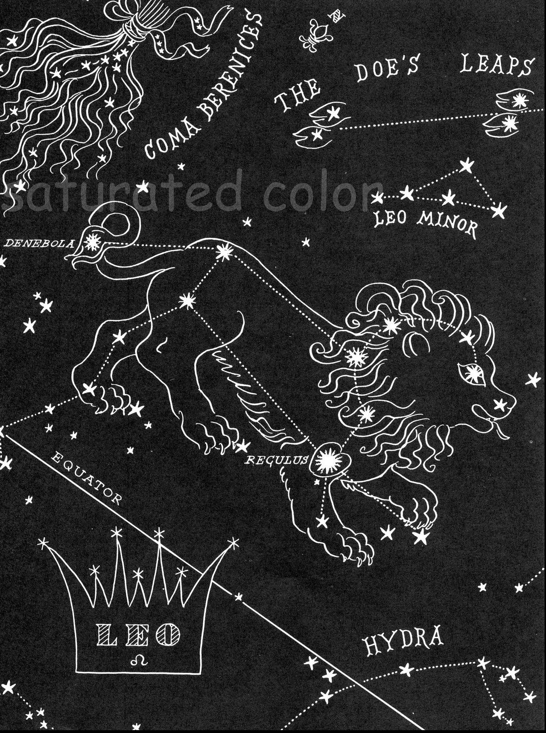 Leo Night Sky Star Chart Map Zodiac Constellation Stars From - Zodiac constellations map