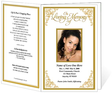 Funeral Order of Service Programs Golden Frame Tribute Single - funeral service templates word