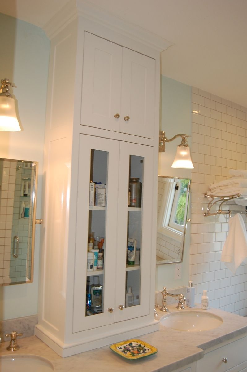 Custom White Bathroom Vanity with Tower Cabinet between Double Sinks (by  Wooden Hammer Llc