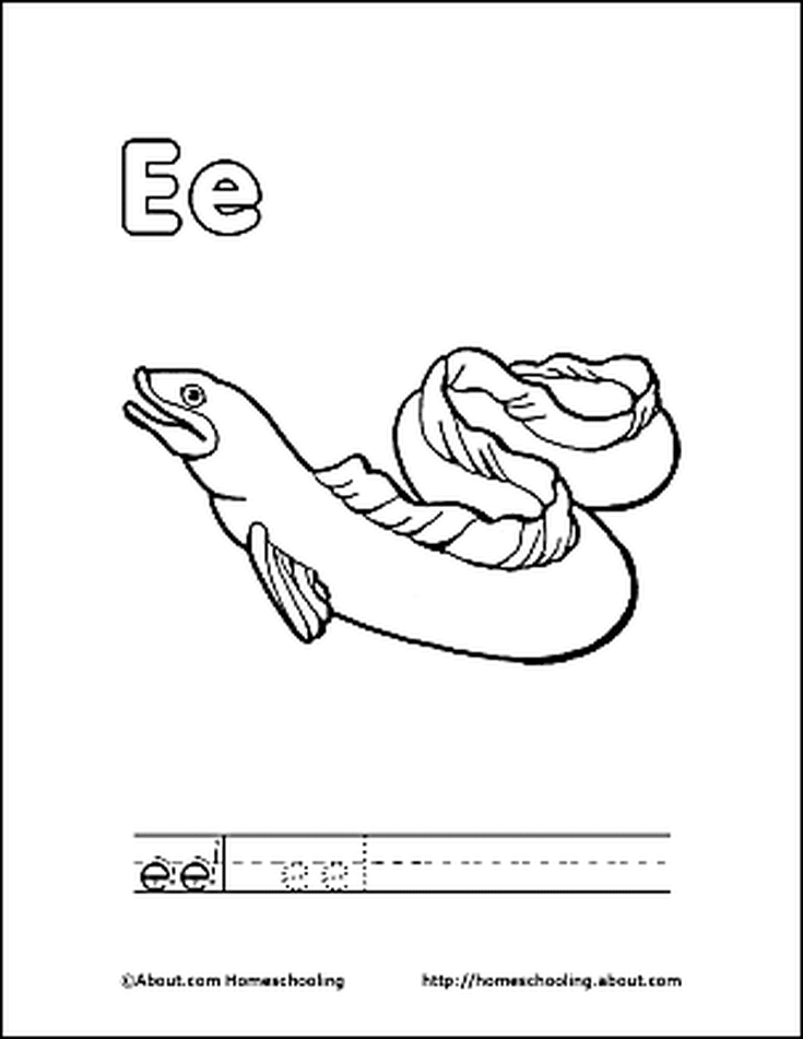 Letter E Coloring Book - Free Printable Pages | Coloring books