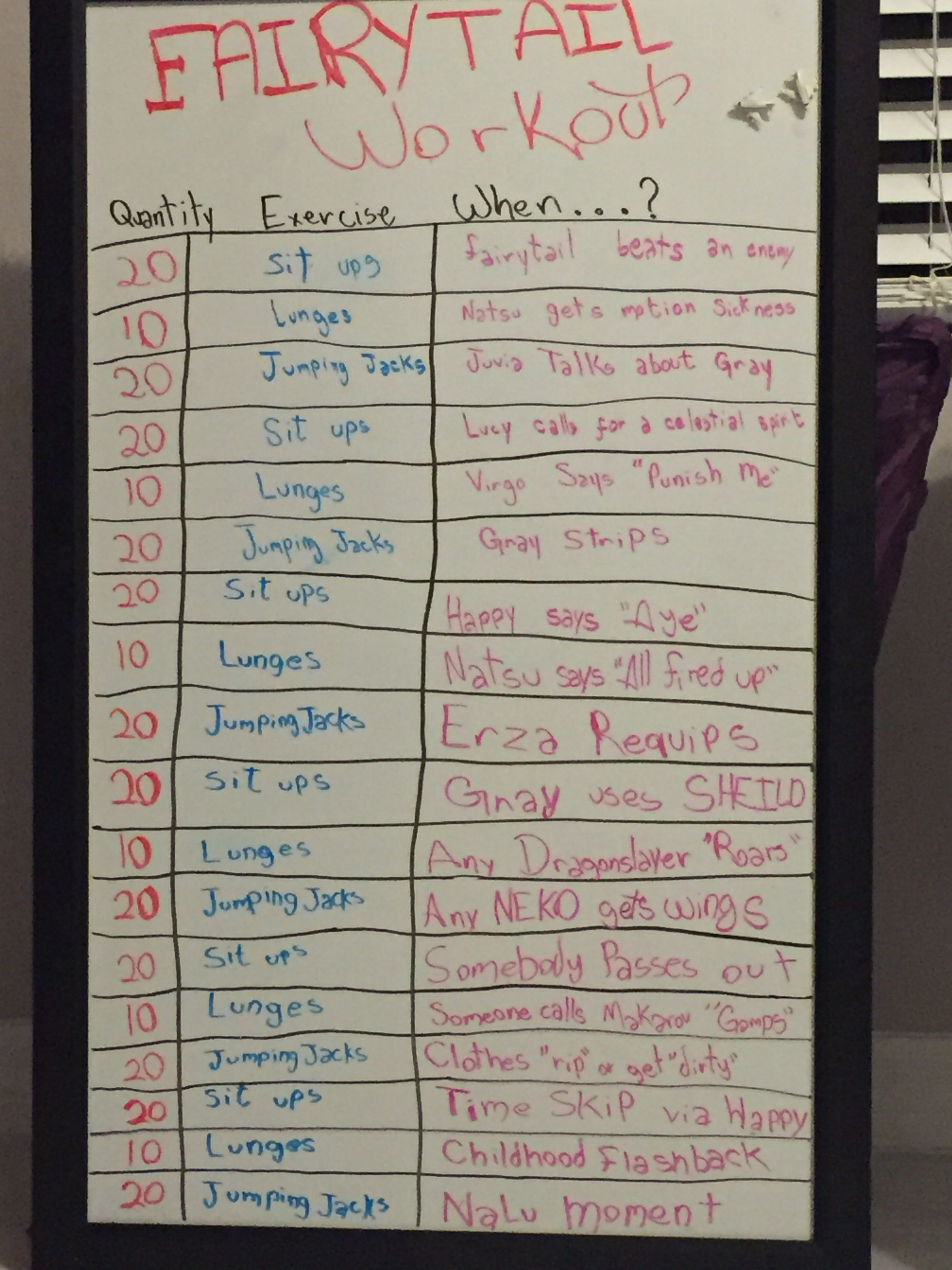 This Is How I Workout Fairytail Nalu Gruvia Erza Anime Exercise Fit Workout Body Workout At Home Nerd Fitness Tv Workouts