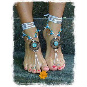Flower Mandala WEDDING BAREFOOT Sandals Toe Anklet wrap sandal WHITE Crochet Sandals Garden Wedding Summer vacation Foot Jewelry GPyoga