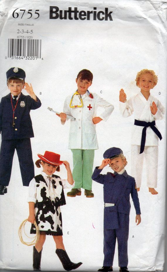 butterick 6755 childs costume pattern conductor postmans policeman nurse doctor karate kid cowgirl bobby boys girls - Halloween Costume Patterns For Kids